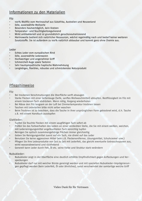 Info & Pflegeanweisungen