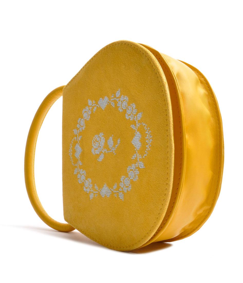 Trachtentasche Leder gelb OSTWALD Traditional Craft