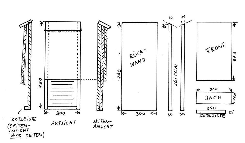 Fledermausflachkasten aus Holz zum Selberbauen (Skizze: Waas, LBV)