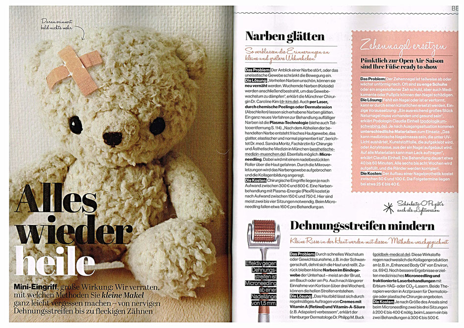 Als Podologin und Nagelprothetik-Expertin klärt Claudia Einhell aus dem PODOLOGIKUM Schwabing in der Zeitschrift Jolie (März 2018) über die Möglichkeiten auf, kaputte Zehen-Nägel künstlilch zu ersetzen.