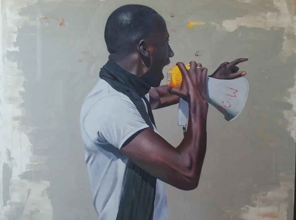 ''Cheikh Fall'' di Saleh Lo - 2015 , Acrilico e olio su tela, 110 x 140 cm