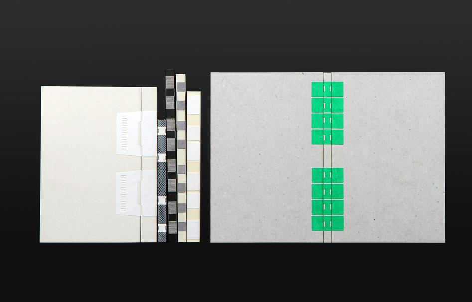 reliure crisscross articulation en tyvek ©anne goy - art binding- reliure d'art - design du livre