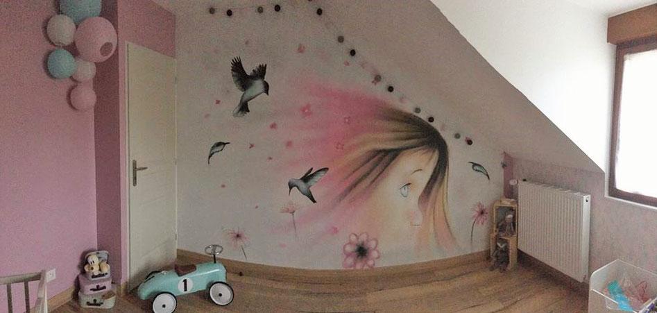 graffiti-décor-chambre-fille-oiseau-plume-fleur