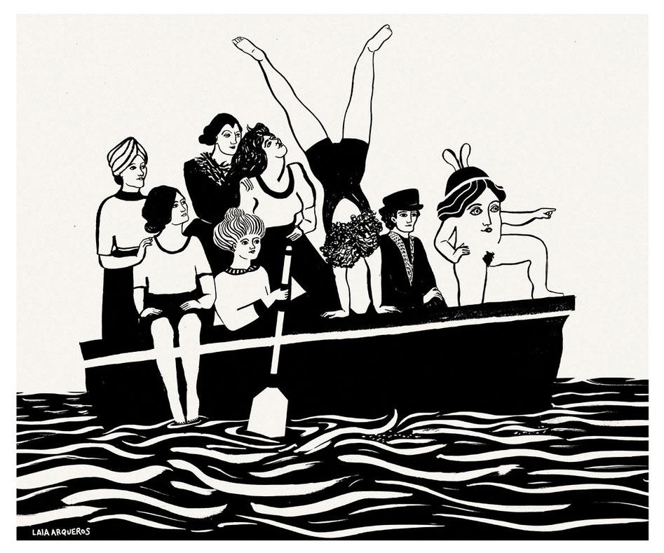 Desembarco en La Rive Gauche / Serigrafía a una tinta