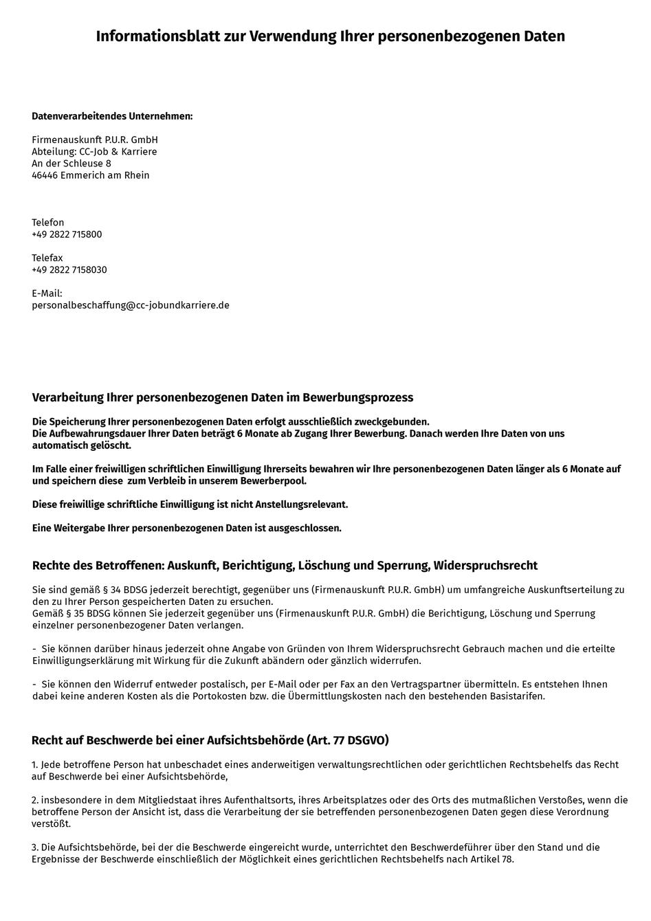 Bewerbung Berwerberdaten I Datenschutz 2021 2