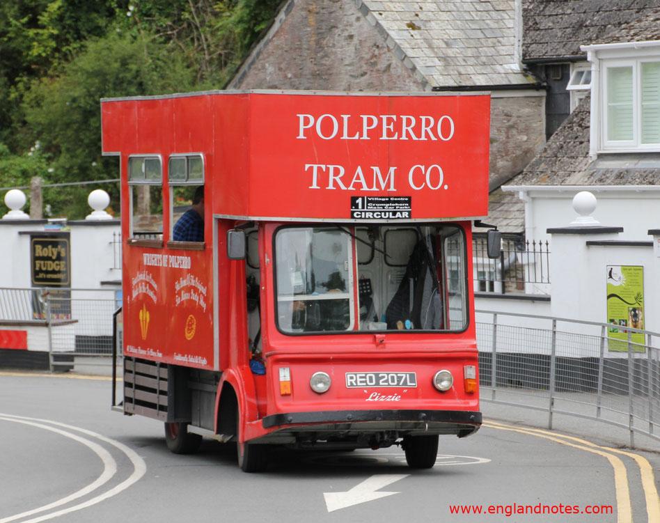 Sehenswürdigkeiten in Polperro, Looe und Fowey, England: Polperro Tram Company in Polperro