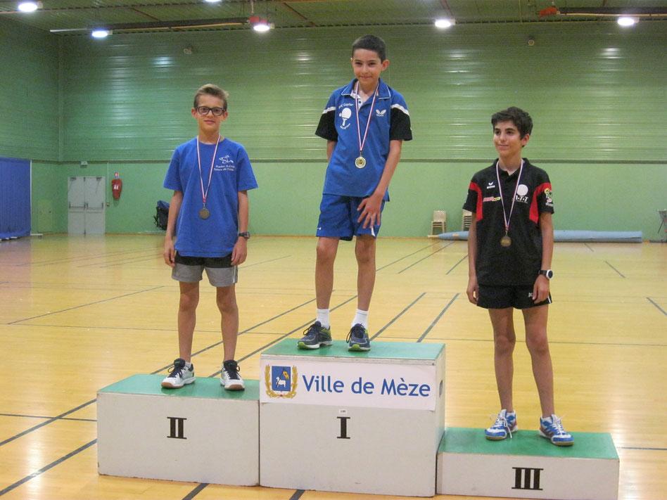 Séverin Loeb 2ème des moins de 13 ans et 3ème des moins de 15 ans aux finales par catégories le 20 mai 2018 à Mèze