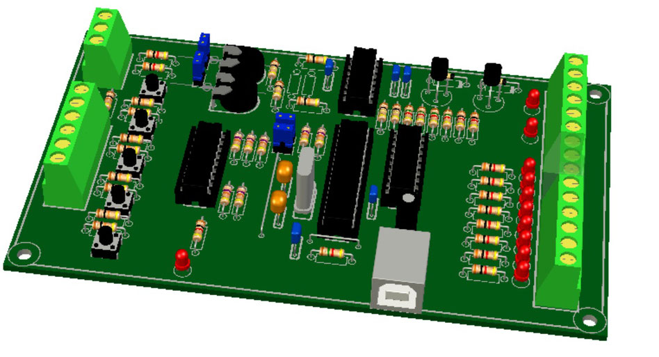 Figure 1: visualized board K8055 from Velleman with SolidWorks