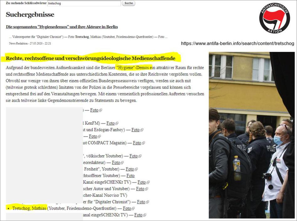 """Bild: 25. April 2020, Berlin """"Hygiene-Demo"""" - 27.05.2020 - Antifa Berlin - Angriff auf Medienschaffende sowie Presse-, Meinungs- und Versammlungsfreiheitfreiheit"""