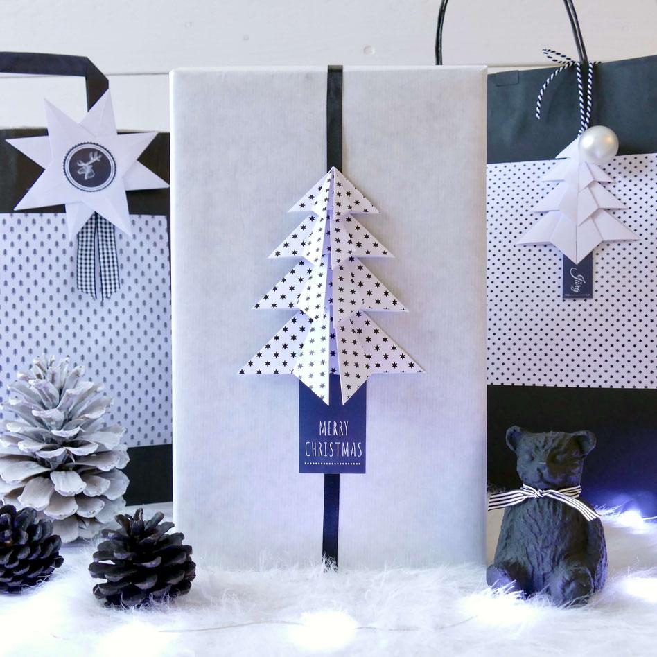 Geschenke verpacken: Recycling Schachtel mit gefaltetem Tannenbaum aus Papier