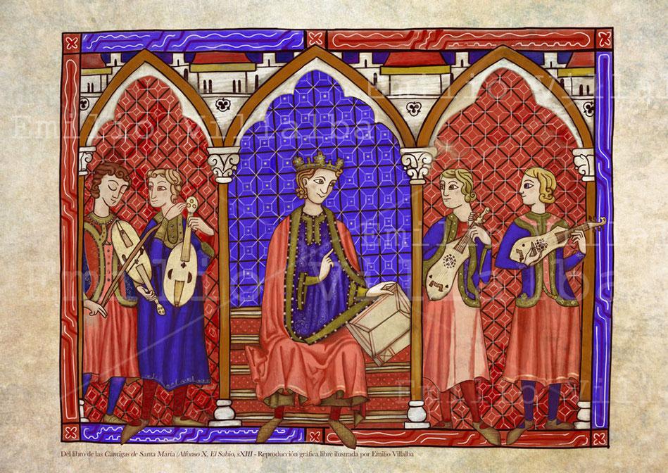 Versión de una de las ilustraciones del códice de Las Cantigas de Santa María, de Alfonso X El Sabio, (s.XIII)