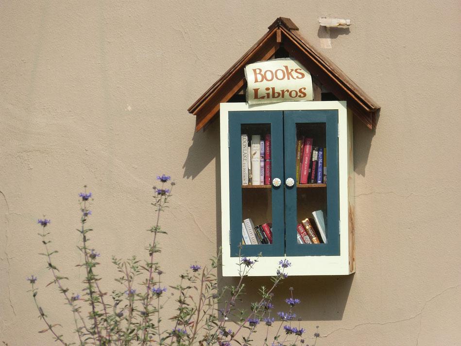 Jolie bibliothèque accrochée à un mur, hôtel à oiseaux ou à livres