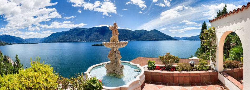 Blick vom Hotel La Rocca auf den Lago Maggiore