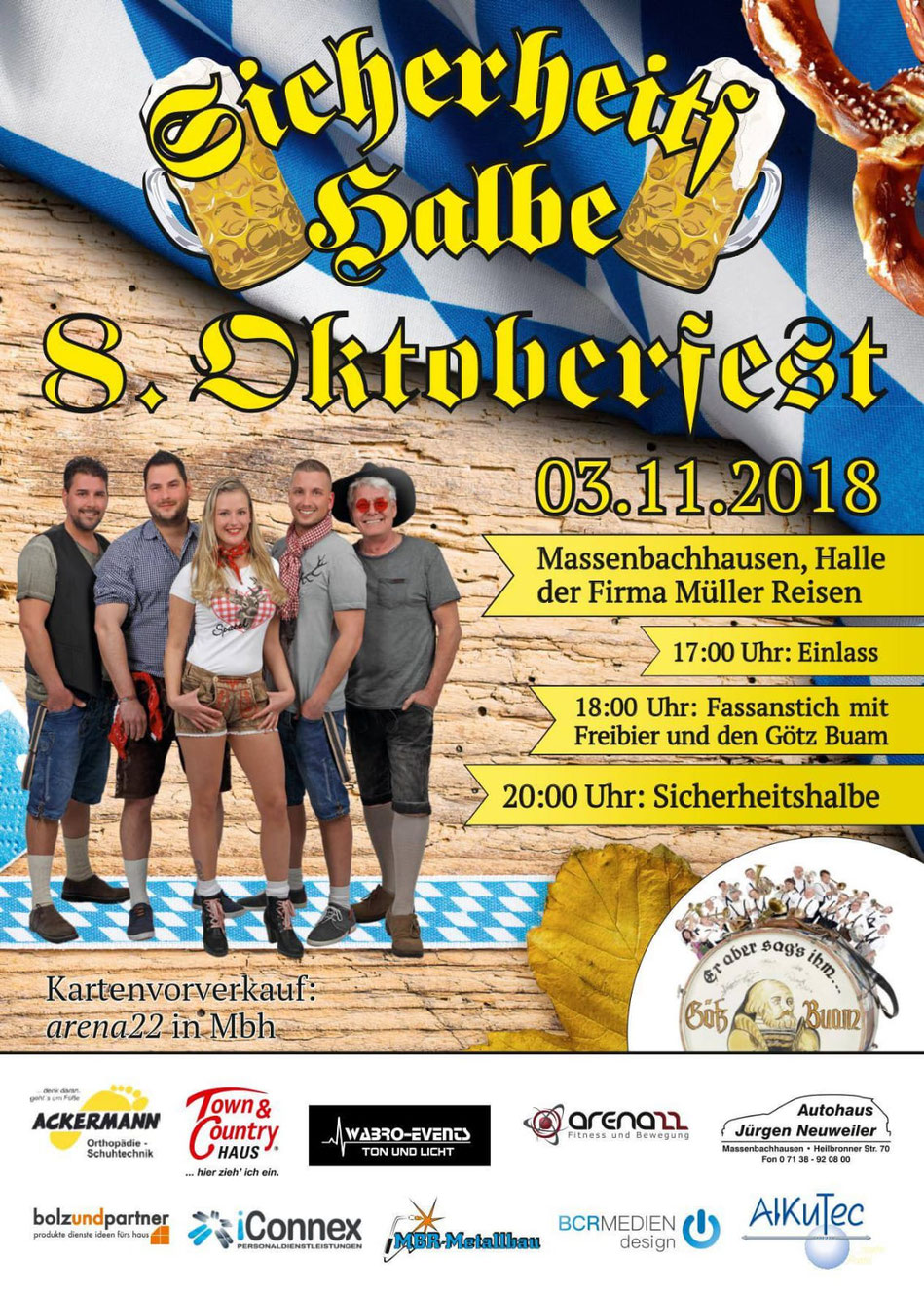 Veranstaltung Party Cover Band Oktoberfest in Massenbachhausen am 03.11.2018, Halle der Firma Müller Reisen, Special Guest Götz Buam