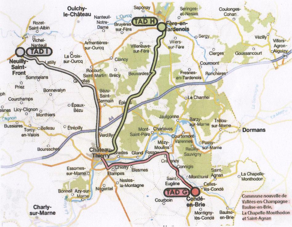 G, H, I : les 3 nouvelles lignes du Transport à la demande (TAD).