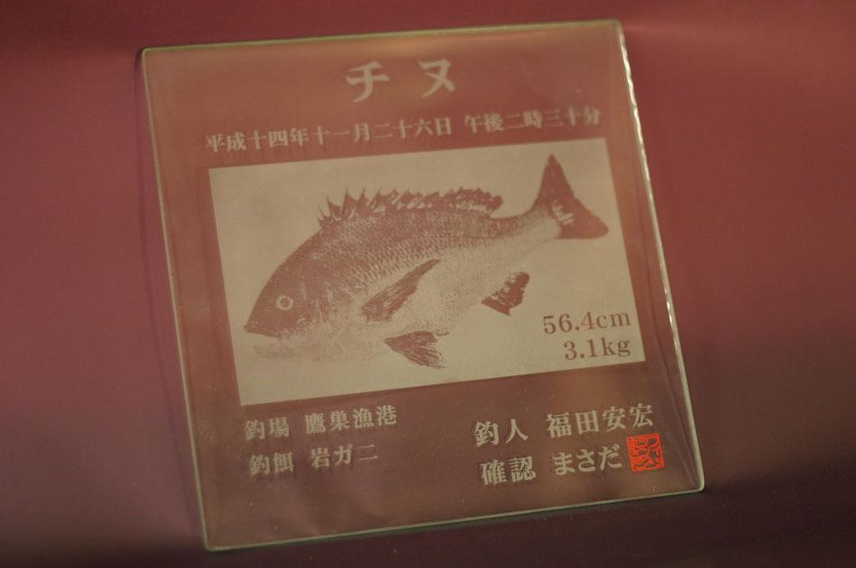 釣り魚拓彫刻 7-Colors鶴岡ガラスアート工房