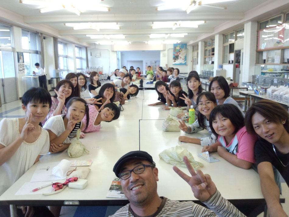 藤島東栄小学校1/2成人式記念品製作 グラス彫刻体験教室 7-Colors鶴岡ガラスアート工房