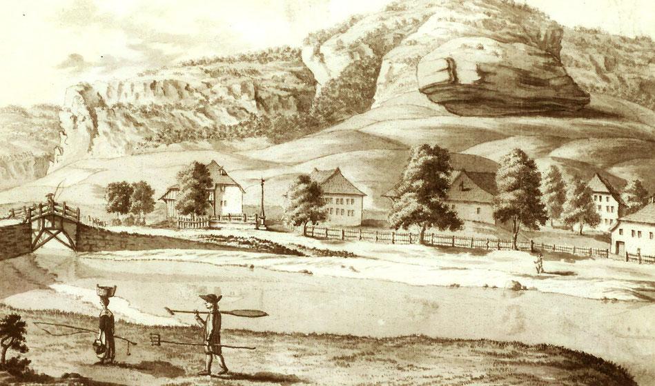 """Gravure de Escher, 1784. Un pêcheur et son épouse rentrent à domicile après une pêche """"miraculeuse"""". Paniers, gaule ou cane-à-pêche, fouène et rame, voilà leur matériel"""