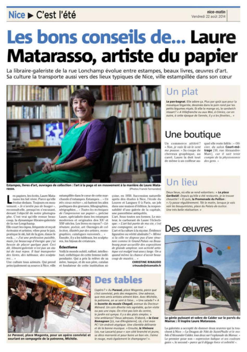 Article Nice Matin du 22/08/2014