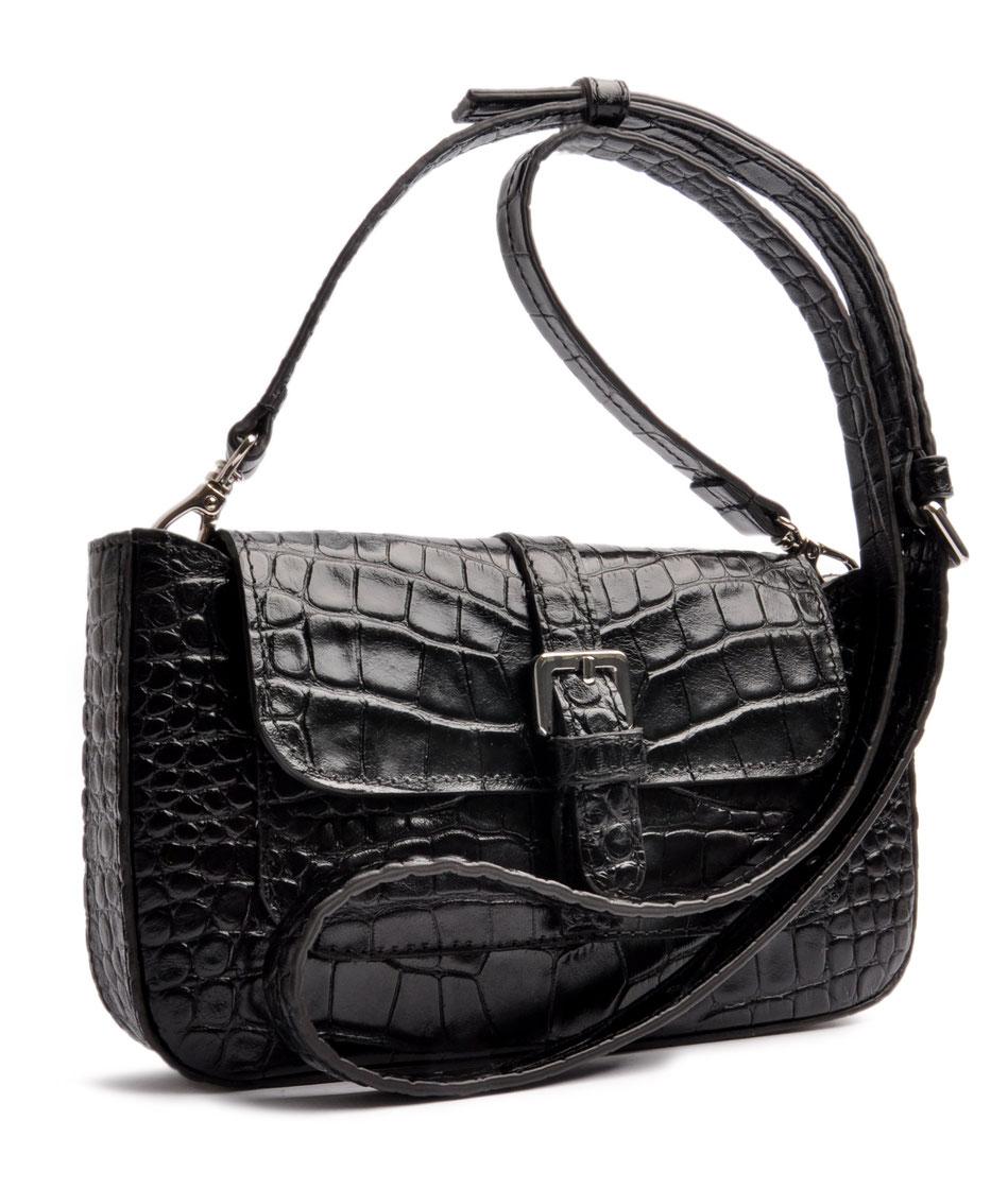 Trachtentasche Leder schwarz Krokooptik . OSTWALD Traditional Craft