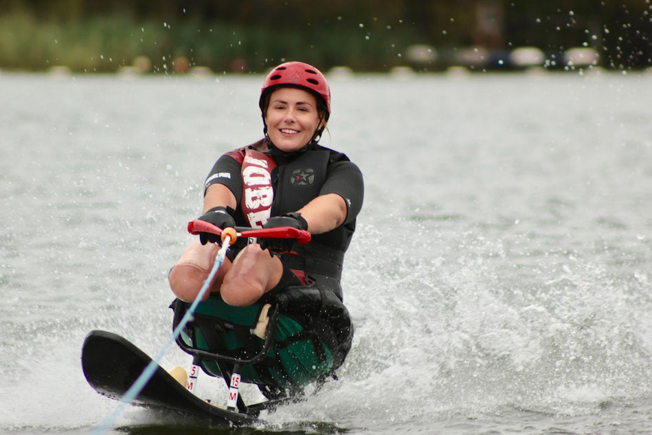 A double amputee waterskiing (picture courtesy of Access Adventures)
