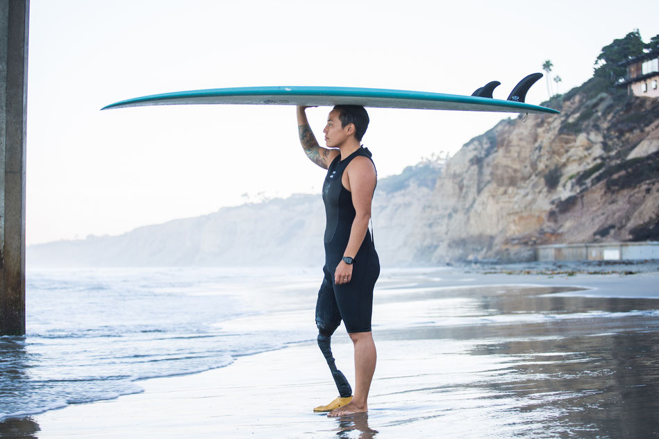 An amputee with a mission: Dani is a strong advocate for equality in adaptive surfing (picture copyright by Michael Bresnen, courtesy of Dani Burt)