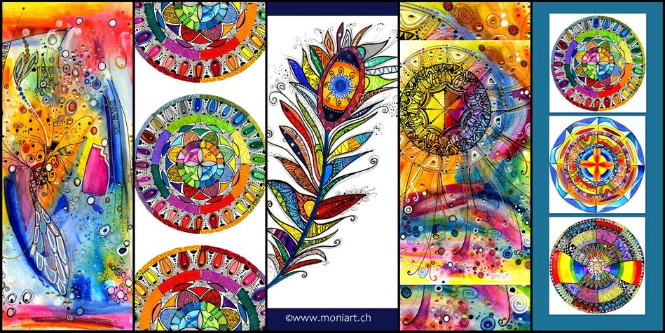 Kunstkarten Hochformat Querformat Farben bunt fröhlich Mandala Muster Fine art Kunstdruck Feder Aquarell Gouache Fineliner