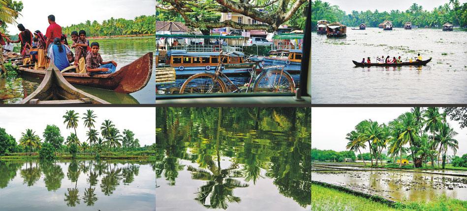 Kerala_ Fähren Esmeral Isle ' Anlegestelle ' Alleppey ' Backwaters ' Emerald Isle | Reisfelder _Tamil Nadu
