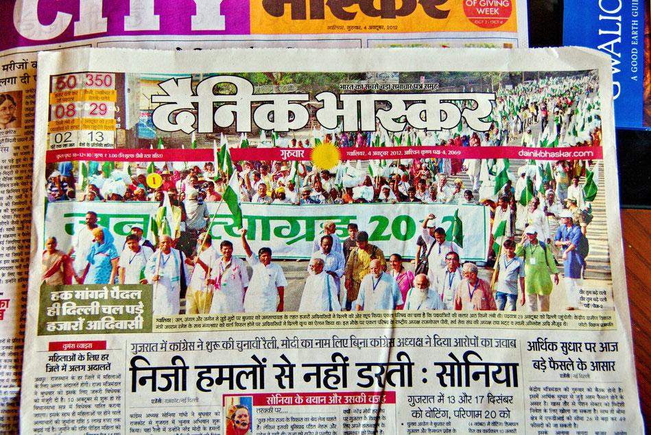 Gwalior_ Presse >3.10. Start Jan Satyagraha 2012 (Marsch >Agra|Delhi)