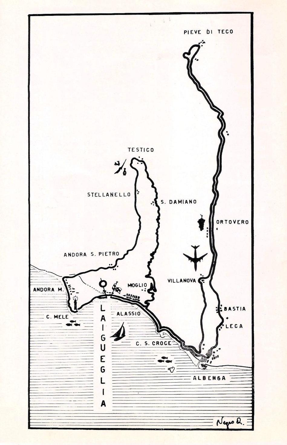 Il percorso prevedeva prima della classica doppia scalata al Testico una puntata in valle Arroscia sino a Pieve di Teco.
