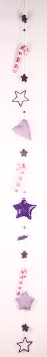 Girlande in lila-pink mit Zuckerstangen.