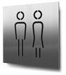 Piktogramm WC Herren+Damen konturgeschnitten in Edelstahl