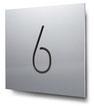 Schild Nummer 6 konturgeschnitten, in Aluminium