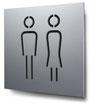 Piktogramm WC Herren+Damen konturgeschnitten in Aluminium