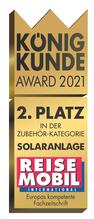 """SOLARA erhält den 2. Platz beim """"König Kunde Award 2021"""". Das Ergebnis einer großen Umfrage und Beleg dafür, dass SOLARA Produkte für Reisemobil, Wohnmobil, Camper, Vans, Wohnwagen usw. empfehlenswert sind, gut funktionieren und die Leser zufrieden sind."""