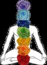 Die sieben Chakren - violett, hellblau, dunkelblau, grün, gelb, orange und rot