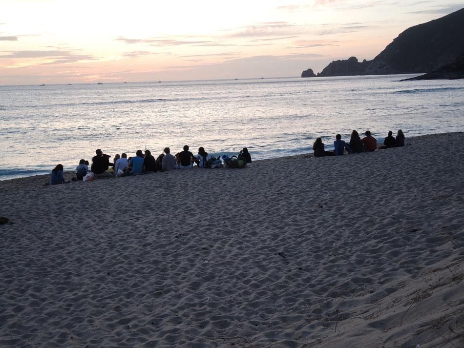 Warten auf Sonnenuntergang.