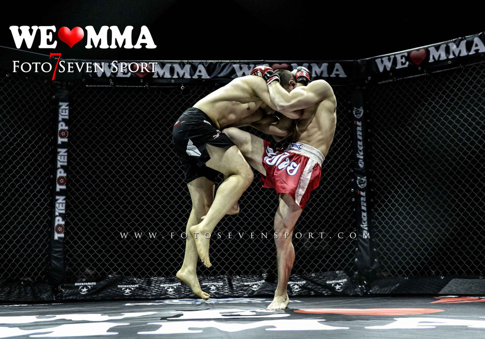 Foto Seven Sport Attila Korkmaz Team MMA Spirit Frankfurt vs Guiseppe Correira Fight Lounge Dortmund Sieg TKO Triangle 2R 1:56