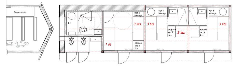 Coupe de principe trois lits superposés et plan du rez de chaussée (variante n°2)