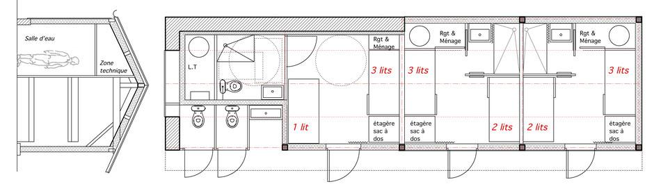 Coupe de principe deux lits superposés et plan du rez de chaussée (variante n°1)