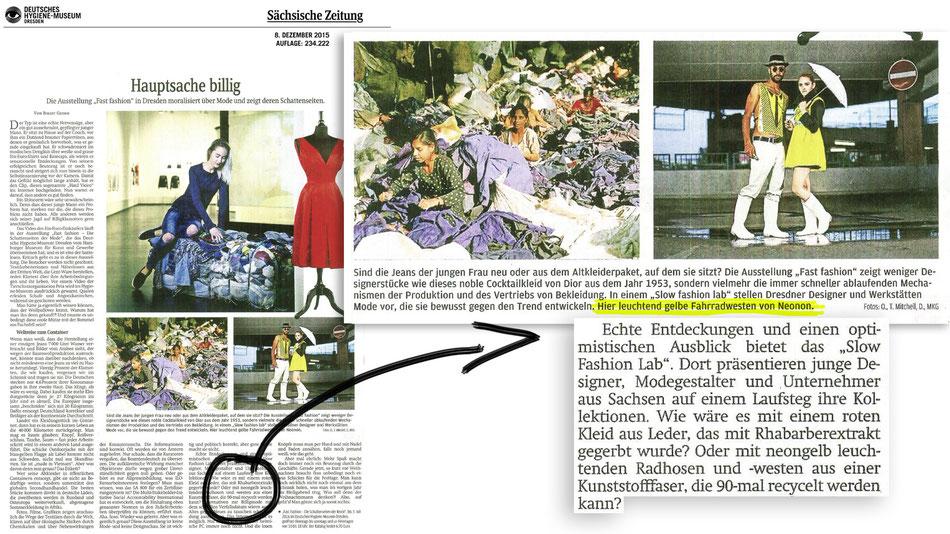 """NEONON im """"Slow Fashion Lab"""" der Hygienemuseum Ausstellung """"Fast Fashion- die Schattenseiten der Mode""""."""