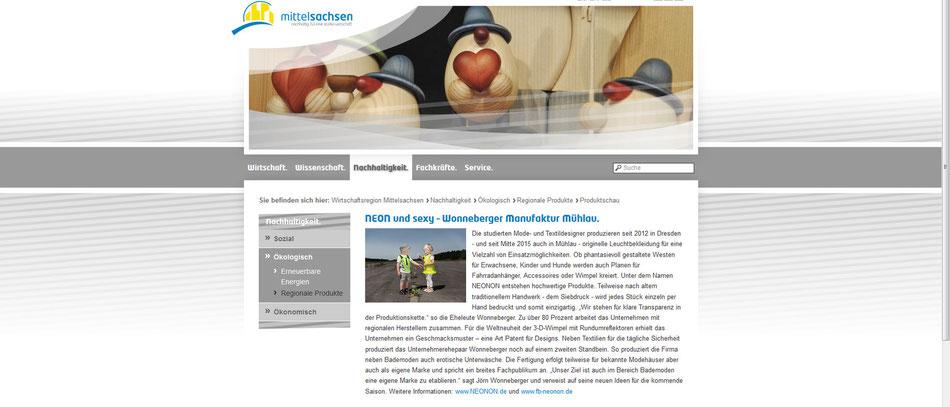 www.wirtschaft-in-mittelsachsen.de stellt das seit 2012 nachheltig lokal produzierende Unternehmen NEONON vor und berichtet über den Ausbau der Näherei nach Mühlau seit 2015.