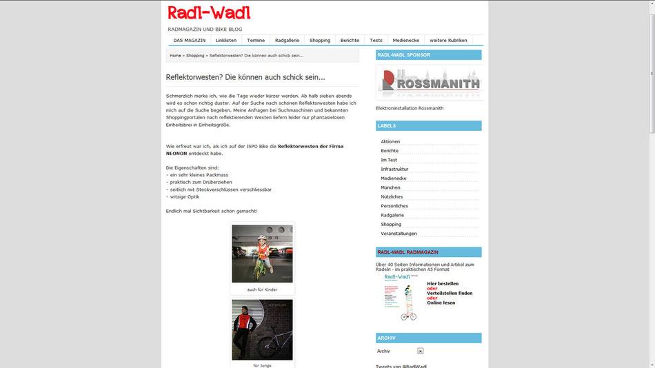 Radl-Wadl NEONON Bericht