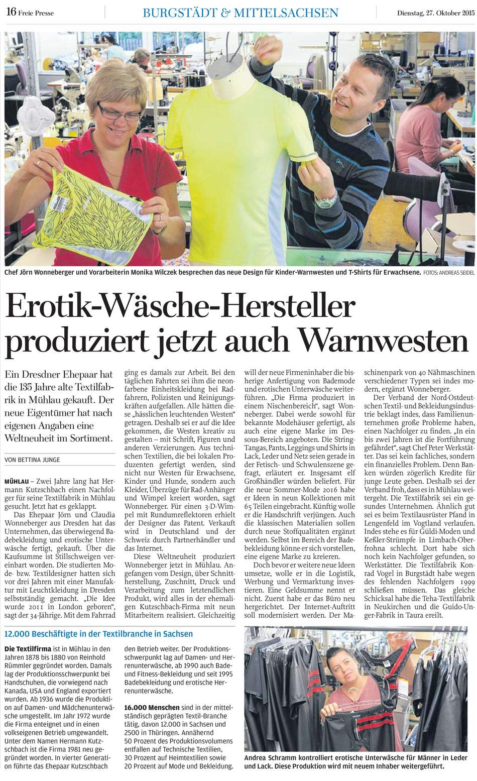 Erotik-Wäsche-Hersteller produziert jetzt auch Warnwesten. NEONON kauft die Näherei Kutzschbach in Mühlau und produziert nun auch Unterwäsche unter der Marke Robinson und nimmt Lohnarbeit für Badebekleidung, Unterwäsche und Trikotagen an.