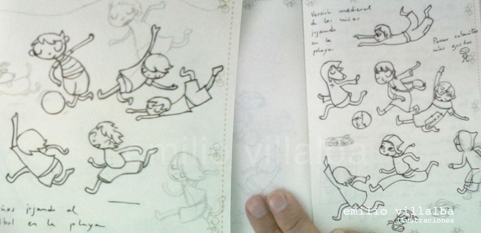 A la izquierda, bocetos de los niños jugando en la playa. A la derecha, misma escena con ropas medievales.