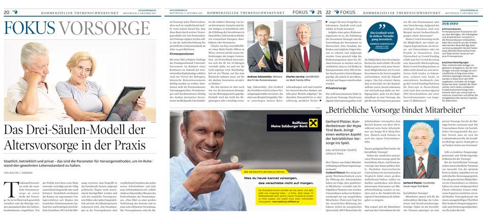 Wirtschaftsblatt.at: Fokus Vorsorge, Charles van Erp