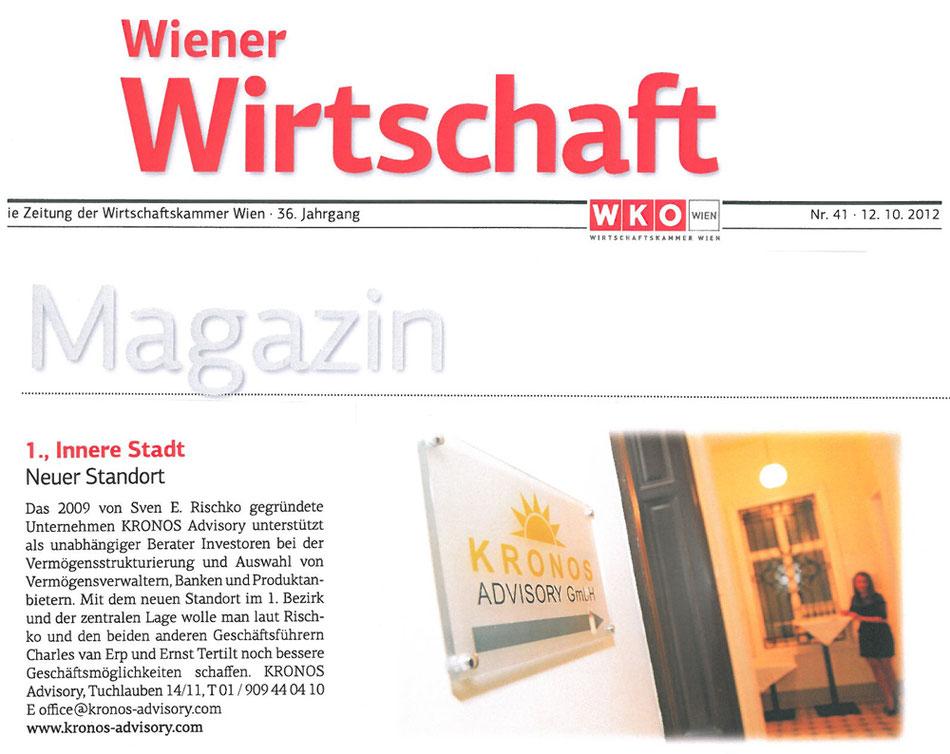 Wiener Wirtschaft: Neuer Standort der KRONOS Advisory