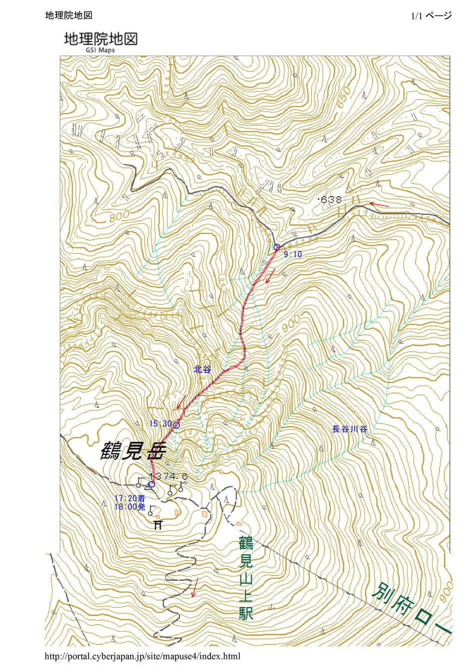 鶴見岳(北谷登はんルート)