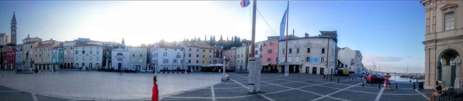 Panorama Bild Tartini Platz-Piran-Portoroz-Slowenien-Lifetravellerz-Reiseblogger