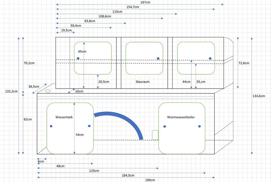 VW T5 Bus Ausbau Möbelbau - Skizze mit Maße